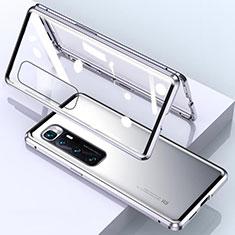 Handyhülle Hülle Luxus Aluminium Metall Rahmen Spiegel 360 Grad Ganzkörper Tasche M01 für Xiaomi Mi 10 Ultra Silber
