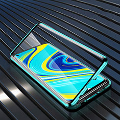 Handyhülle Hülle Luxus Aluminium Metall Rahmen Spiegel 360 Grad Ganzkörper Tasche M01 für Xiaomi Redmi Note 9 Grün