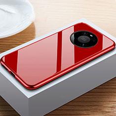Handyhülle Hülle Luxus Aluminium Metall Rahmen Spiegel 360 Grad Ganzkörper Tasche M02 für Huawei Mate 40 Pro Rot