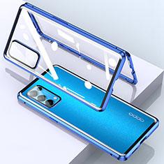 Handyhülle Hülle Luxus Aluminium Metall Rahmen Spiegel 360 Grad Ganzkörper Tasche M02 für Oppo Reno5 Pro 5G Blau