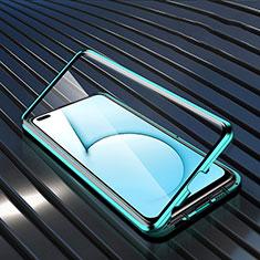 Handyhülle Hülle Luxus Aluminium Metall Rahmen Spiegel 360 Grad Ganzkörper Tasche M02 für Realme X3 SuperZoom Cyan
