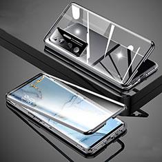 Handyhülle Hülle Luxus Aluminium Metall Rahmen Spiegel 360 Grad Ganzkörper Tasche M02 für Xiaomi Mi 10 Ultra Schwarz