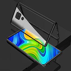 Handyhülle Hülle Luxus Aluminium Metall Rahmen Spiegel 360 Grad Ganzkörper Tasche M02 für Xiaomi Redmi Note 9 Schwarz