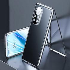 Handyhülle Hülle Luxus Aluminium Metall Rahmen Spiegel 360 Grad Ganzkörper Tasche M03 für Huawei Nova 8 Pro 5G Schwarz