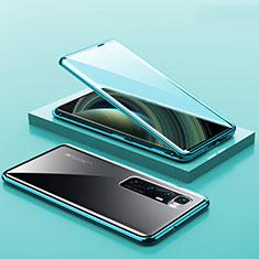 Handyhülle Hülle Luxus Aluminium Metall Rahmen Spiegel 360 Grad Ganzkörper Tasche M03 für Xiaomi Mi 10 Ultra Cyan