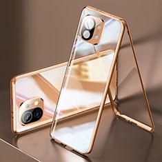 Handyhülle Hülle Luxus Aluminium Metall Rahmen Spiegel 360 Grad Ganzkörper Tasche M03 für Xiaomi Mi 11 5G Gold