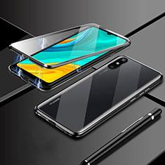 Handyhülle Hülle Luxus Aluminium Metall Rahmen Spiegel 360 Grad Ganzkörper Tasche M04 für Huawei Enjoy 10e Schwarz