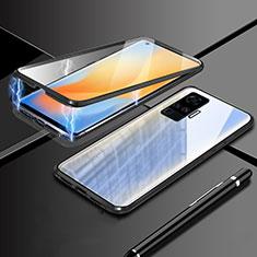 Handyhülle Hülle Luxus Aluminium Metall Rahmen Spiegel 360 Grad Ganzkörper Tasche M04 für Vivo X50 Pro 5G Schwarz
