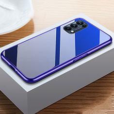 Handyhülle Hülle Luxus Aluminium Metall Rahmen Spiegel 360 Grad Ganzkörper Tasche M05 für Oppo Reno5 5G Blau
