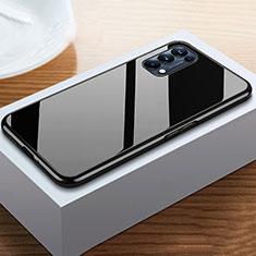 Handyhülle Hülle Luxus Aluminium Metall Rahmen Spiegel 360 Grad Ganzkörper Tasche M05 für Oppo Reno5 Pro 5G Schwarz