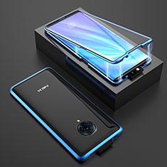 Handyhülle Hülle Luxus Aluminium Metall Rahmen Spiegel 360 Grad Ganzkörper Tasche M08 für Vivo Nex 3 Blau