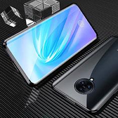Handyhülle Hülle Luxus Aluminium Metall Rahmen Spiegel 360 Grad Ganzkörper Tasche M09 für Vivo Nex 3 Schwarz