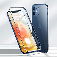 Handyhülle Hülle Luxus Aluminium Metall Rahmen Spiegel 360 Grad Ganzkörper Tasche N01 für Apple iPhone 12 Blau