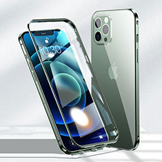 Handyhülle Hülle Luxus Aluminium Metall Rahmen Spiegel 360 Grad Ganzkörper Tasche N01 für Apple iPhone 12 Pro Grün