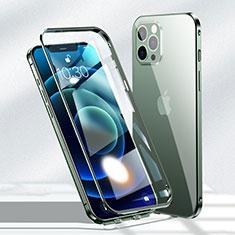 Handyhülle Hülle Luxus Aluminium Metall Rahmen Spiegel 360 Grad Ganzkörper Tasche N01 für Apple iPhone 12 Pro Max Grün