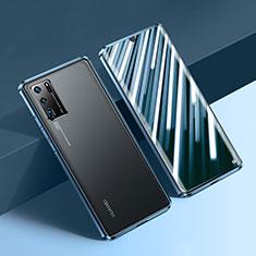 Handyhülle Hülle Luxus Aluminium Metall Rahmen Spiegel 360 Grad Ganzkörper Tasche N01 für Huawei P30 Pro Blau