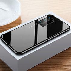 Handyhülle Hülle Luxus Aluminium Metall Rahmen Spiegel 360 Grad Ganzkörper Tasche N01 für Huawei P40 Pro Schwarz