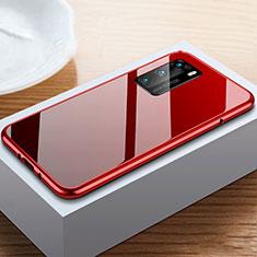 Handyhülle Hülle Luxus Aluminium Metall Rahmen Spiegel 360 Grad Ganzkörper Tasche N01 für Huawei P40 Rot und Schwarz