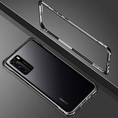 Handyhülle Hülle Luxus Aluminium Metall Rahmen Spiegel 360 Grad Ganzkörper Tasche N02 für Huawei P40 Schwarz
