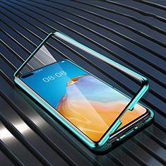 Handyhülle Hülle Luxus Aluminium Metall Rahmen Spiegel 360 Grad Ganzkörper Tasche N04 für Huawei P40 Grün
