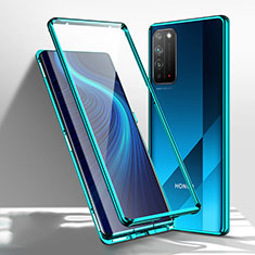 Handyhülle Hülle Luxus Aluminium Metall Rahmen Spiegel 360 Grad Ganzkörper Tasche T01 für Huawei Honor X10 5G Grün