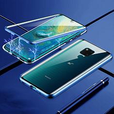 Handyhülle Hülle Luxus Aluminium Metall Rahmen Spiegel 360 Grad Ganzkörper Tasche T01 für Huawei Mate 20 X 5G Blau