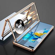Handyhülle Hülle Luxus Aluminium Metall Rahmen Spiegel 360 Grad Ganzkörper Tasche T01 für Huawei Mate 40 Pro Gold