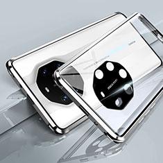 Handyhülle Hülle Luxus Aluminium Metall Rahmen Spiegel 360 Grad Ganzkörper Tasche T01 für Huawei Mate 40 RS Weiß