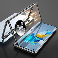 Handyhülle Hülle Luxus Aluminium Metall Rahmen Spiegel 360 Grad Ganzkörper Tasche T01 für Huawei Mate 40 Schwarz