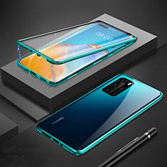 Handyhülle Hülle Luxus Aluminium Metall Rahmen Spiegel 360 Grad Ganzkörper Tasche T01 für Huawei P40 Grün