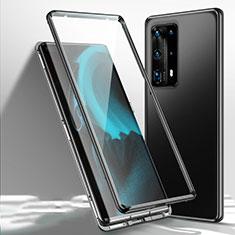 Handyhülle Hülle Luxus Aluminium Metall Rahmen Spiegel 360 Grad Ganzkörper Tasche T01 für Huawei P40 Pro+ Plus Schwarz