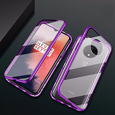Handyhülle Hülle Luxus Aluminium Metall Rahmen Spiegel 360 Grad Ganzkörper Tasche T01 für OnePlus 7T Violett