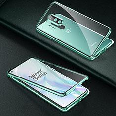 Handyhülle Hülle Luxus Aluminium Metall Rahmen Spiegel 360 Grad Ganzkörper Tasche T01 für OnePlus 8 Pro Grün