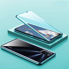 Handyhülle Hülle Luxus Aluminium Metall Rahmen Spiegel 360 Grad Ganzkörper Tasche T01 für Oppo A52 Grün