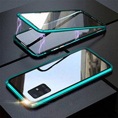 Handyhülle Hülle Luxus Aluminium Metall Rahmen Spiegel 360 Grad Ganzkörper Tasche T01 für Samsung Galaxy A51 5G Cyan