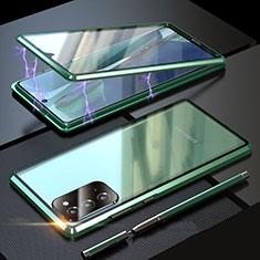 Handyhülle Hülle Luxus Aluminium Metall Rahmen Spiegel 360 Grad Ganzkörper Tasche T01 für Samsung Galaxy Note 20 5G Grün