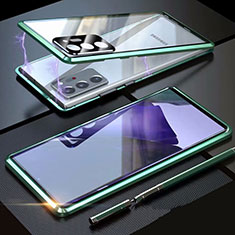 Handyhülle Hülle Luxus Aluminium Metall Rahmen Spiegel 360 Grad Ganzkörper Tasche T01 für Samsung Galaxy Note 20 Ultra 5G Grün