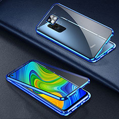 Handyhülle Hülle Luxus Aluminium Metall Rahmen Spiegel 360 Grad Ganzkörper Tasche T01 für Xiaomi Redmi 10X 4G Blau