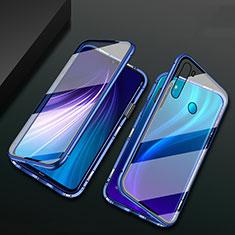 Handyhülle Hülle Luxus Aluminium Metall Rahmen Spiegel 360 Grad Ganzkörper Tasche T01 für Xiaomi Redmi Note 8 Blau