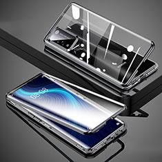 Handyhülle Hülle Luxus Aluminium Metall Rahmen Spiegel 360 Grad Ganzkörper Tasche T02 für Huawei Honor X10 5G Schwarz