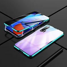 Handyhülle Hülle Luxus Aluminium Metall Rahmen Spiegel 360 Grad Ganzkörper Tasche T02 für Huawei Nova 6 5G Cyan