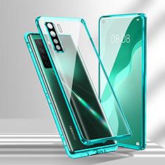 Handyhülle Hülle Luxus Aluminium Metall Rahmen Spiegel 360 Grad Ganzkörper Tasche T02 für Huawei Nova 7 SE 5G Cyan