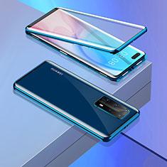 Handyhülle Hülle Luxus Aluminium Metall Rahmen Spiegel 360 Grad Ganzkörper Tasche T02 für Huawei P40 Pro+ Plus Blau