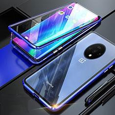 Handyhülle Hülle Luxus Aluminium Metall Rahmen Spiegel 360 Grad Ganzkörper Tasche T02 für OnePlus 7T Blau