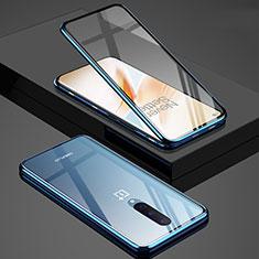 Handyhülle Hülle Luxus Aluminium Metall Rahmen Spiegel 360 Grad Ganzkörper Tasche T02 für OnePlus 8 Blau