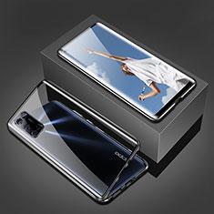 Handyhülle Hülle Luxus Aluminium Metall Rahmen Spiegel 360 Grad Ganzkörper Tasche T02 für Oppo A92 Schwarz