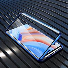 Handyhülle Hülle Luxus Aluminium Metall Rahmen Spiegel 360 Grad Ganzkörper Tasche T02 für Oppo Reno4 5G Blau