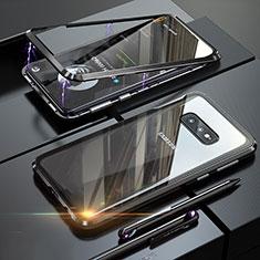 Handyhülle Hülle Luxus Aluminium Metall Rahmen Spiegel 360 Grad Ganzkörper Tasche T02 für Samsung Galaxy S10e Schwarz