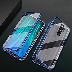 Handyhülle Hülle Luxus Aluminium Metall Rahmen Spiegel 360 Grad Ganzkörper Tasche T02 für Xiaomi Redmi Note 8 Pro Blau