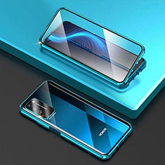 Handyhülle Hülle Luxus Aluminium Metall Rahmen Spiegel 360 Grad Ganzkörper Tasche T03 für Huawei Honor X10 5G Hellblau